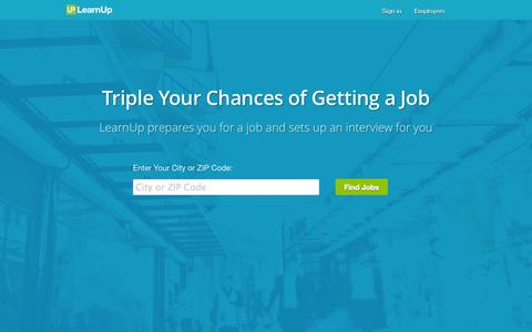Screenshot of Home Page learnup.com - Learn job skills employers need and get hired. - LearnUp - captured Jan. 14, 2015