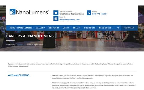 Screenshot of Jobs Page nanolumens.com - Jump Starting Careers at NanoLumens - captured July 23, 2016
