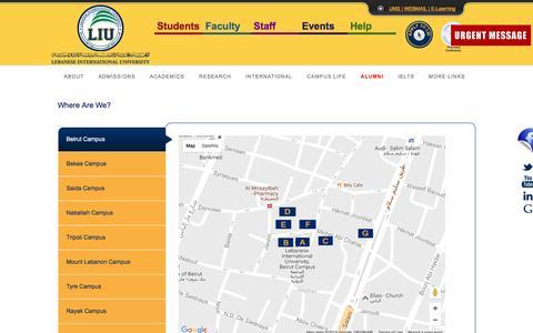 Screenshot of Maps & Directions Page liu.edu.lb - LIU - captured Aug. 31, 2016