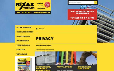 Screenshot of Privacy Page rixax.nl - Rixax Verhuur BV | Privacy - captured Oct. 18, 2018