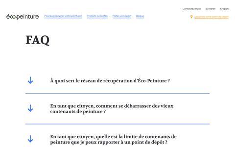 Screenshot of FAQ Page ecopeinture.ca - Réponses concernant le recyclage de peinture | Éco-Peinture - captured Oct. 29, 2018