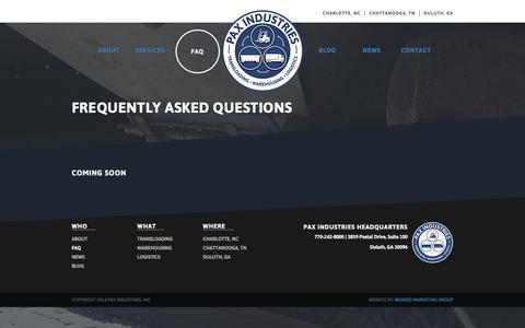 Screenshot of FAQ Page paxind.com - FAQ –  Pax Industries - captured Jan. 26, 2016