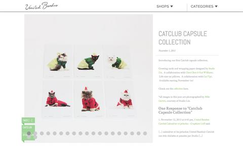 Screenshot of unitedbamboo.com - Catclub Capsule Collection  |  United Bamboo - captured March 19, 2016