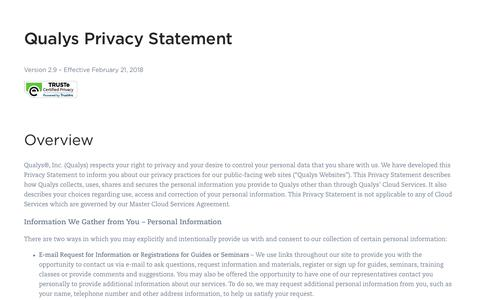 Qualys Privacy Statement