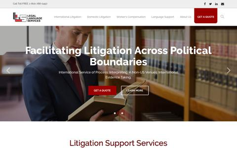 Screenshot of Home Page legallanguage.com - Legal Language Services: Litigation & Language Support - captured July 19, 2019