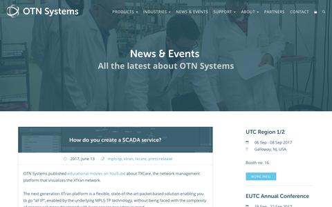 Screenshot of Press Page otnsystems.com - News · OTN Systems - captured June 14, 2017