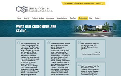 Screenshot of Testimonials Page criticalsystemsinc.com - Testimonials | Customer Reviews - Critical Systems, Inc. - captured Dec. 13, 2015