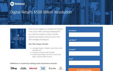 Screenshot of Landing Page reflektion.com - Digital Retail's $500 Billion Resolution - captured April 1, 2017