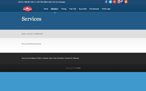 Screenshot of Services Page faxbb.com - Services | FAXBB.COM - captured Aug. 12, 2018