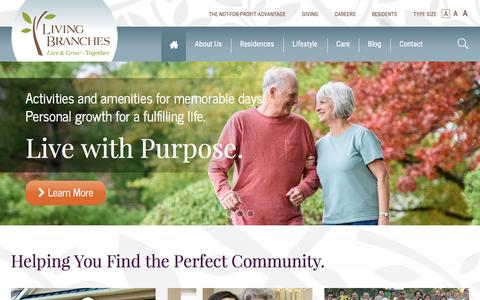 Screenshot of Home Page livingbranches.org - Senior Living Residential Community - Living Branches - captured May 21, 2017