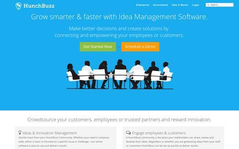 Screenshot of Home Page hunchbuzz.com - HunchBuzz - Enterprise Class Idea Management Software - captured Sept. 19, 2014