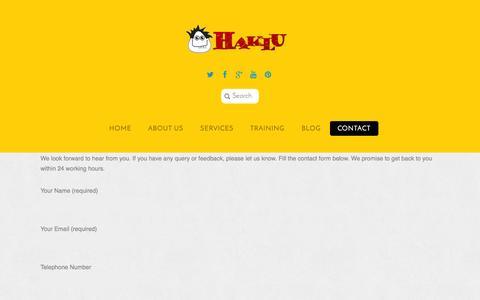 Screenshot of Contact Page haklu.com - Contact - Haklu - captured Sept. 27, 2014