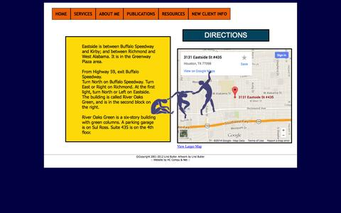 Screenshot of Maps & Directions Page lindbutler.com - LIND BUTLER | PSYCHOTHERAPY | DIRECTIONS - captured Oct. 8, 2014