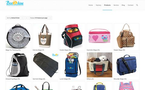 Screenshot of Products Page benshine-bags.com - Benshine - Custom Bags Factory in China - captured Oct. 22, 2018