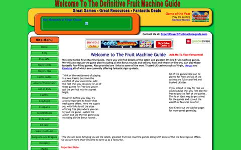 Screenshot of Home Page fruitmachineguide.com - The Definitive Fruit Machine Guide | Find the best UK Online Games - captured March 10, 2016
