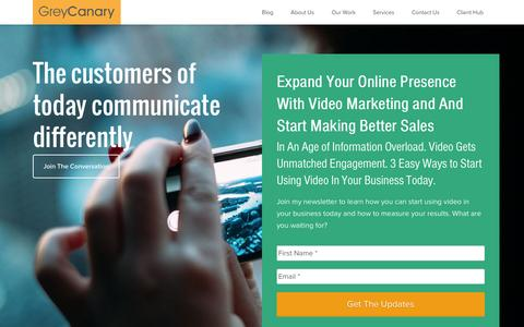 Screenshot of Home Page greycanary.tv - Video Marketing in Toronto - Grey Canary - captured Dec. 15, 2015