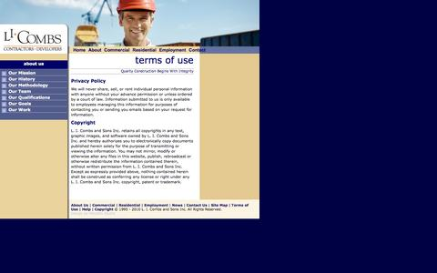 Screenshot of Terms Page licombs.com - Terms of Use : L. I. Combs & Sons Inc. - Contractors - Developers - Property Management - captured Oct. 1, 2014
