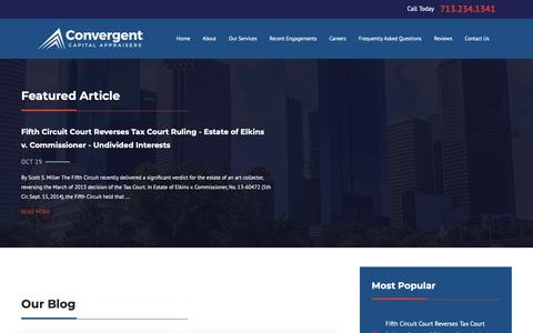 Screenshot of Blog convergencefinancial.com - Business Valuation in Houston | Convergent Capital Appraisers - captured Sept. 29, 2018