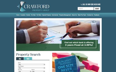 Screenshot of Home Page crawfordrealty.com.au - Positively Geared Property | Home - Crawford - captured Sept. 18, 2015