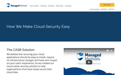 Screenshot of Products Page managedmethods.com - Cloud Data Security & Protection | How ManagedMethods Works - captured Oct. 2, 2018