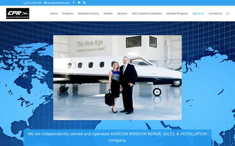 Screenshot of About Page cpraviationwindowrepair.com - About Us | CPR Aviation Window Repair - captured Oct. 10, 2016