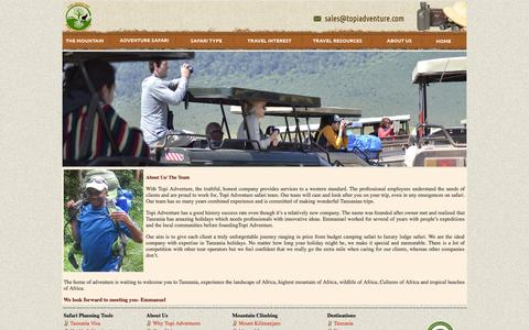 Screenshot of Team Page topiadventure.com - Tanzania, tansania tour operator - captured Oct. 7, 2014