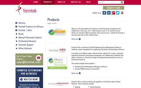 Screenshot of Products Page formtek.com - Intelligent Products for Enterprise Content Management | formtek - captured Oct. 27, 2014