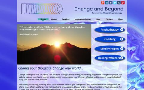 Screenshot of Home Page changeandbeyond.com - Personal Coaching and Psychotherapy - captured Oct. 2, 2014