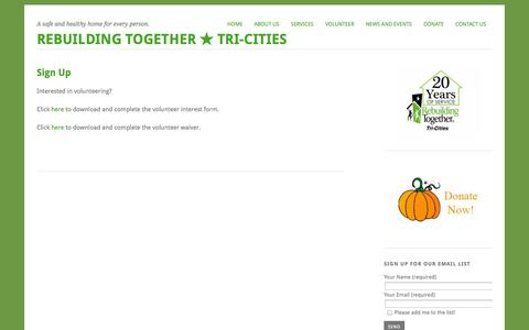 Screenshot of Signup Page rttricities.org - Sign Up | Rebuilding Together ★ Tri-Cities - captured Oct. 26, 2014