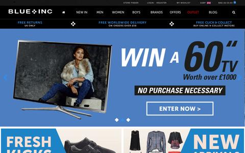 Screenshot of Home Page blueinc.co.uk - Blue Inc: Men and women's clothing - captured Sept. 23, 2014