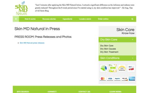 Screenshot of Press Page skinmdnatural.com - Press Room – Natural Dry Skin Care Product: Skin MD Natural Shielding Lotion - captured Feb. 13, 2016