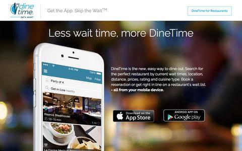 Screenshot of Home Page dinetime.com - DineTime - captured Jan. 7, 2016