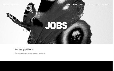 Screenshot of Jobs Page agency-spring.com - Looking for a new job? - Agency Spring - Advertising Agency - captured June 26, 2016