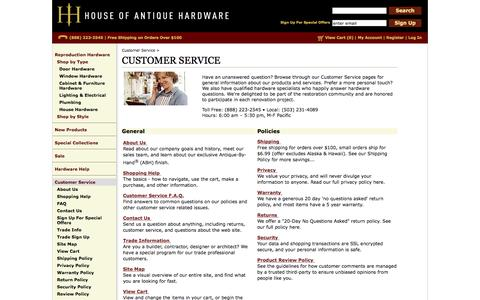 Screenshot of Support Page houseofantiquehardware.com - Customer Service - Get Answers to Your Questions and More - captured Nov. 3, 2015