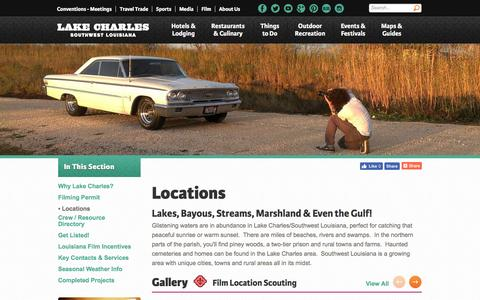 Screenshot of Locations Page visitlakecharles.org - Locations - captured Oct. 19, 2016