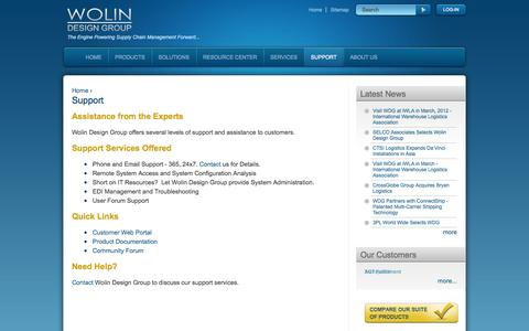 Screenshot of Support Page wdgcorp.com - Support | Wolin Design Group - captured Oct. 26, 2014