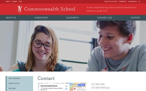 Screenshot of Contact Page commschool.org - Contact - Commonwealth School - captured Aug. 16, 2017