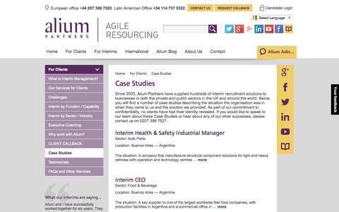 Screenshot of Case Studies Page aliumpartners.com - Interim Management | Case Studies | Alium Partners - captured Oct. 4, 2014