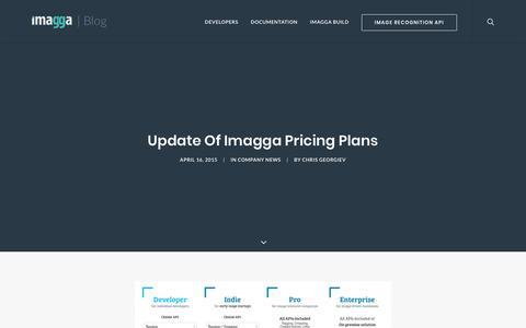 Screenshot of Pricing Page imagga.com - Imagga Pricing Plans, new Developer plan - captured Nov. 8, 2017