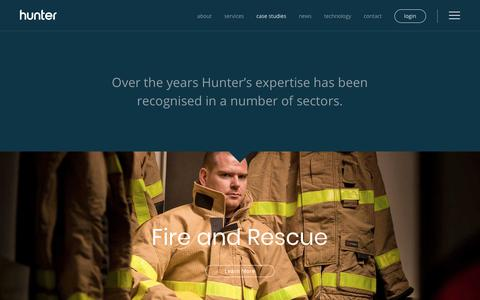 Screenshot of Case Studies Page hunterapparelsolutions.com - Our Work – Hunter Apparel Solutions - captured Sept. 20, 2017