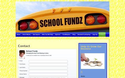 Screenshot of Contact Page schoolfundz.com - Contact | School Fundz Main Site - captured Sept. 29, 2014
