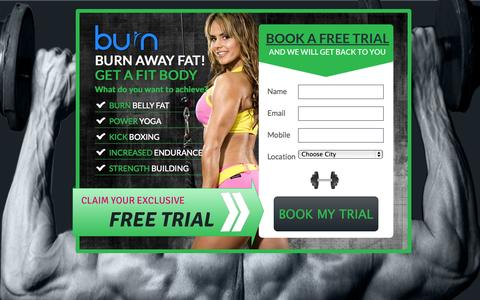 Screenshot of Trial Page burngym.com - Burn Gym - captured Nov. 3, 2014