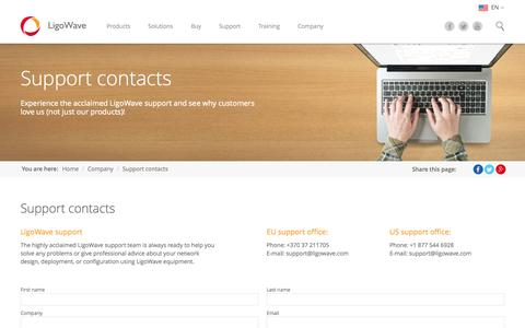 Screenshot of Support Page ligowave.com - Support contacts - captured Aug. 9, 2015