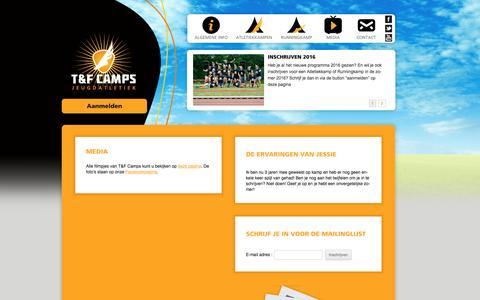 Screenshot of Press Page tfcamps.nl - Media | T&F Camps - captured Feb. 22, 2016
