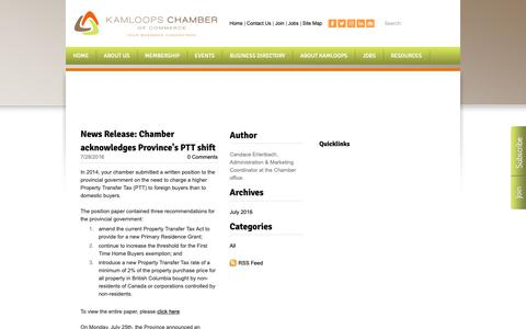 Screenshot of Blog kamloopschamber.ca - Kamloops Chamber of Commerce | Kamloops, BC - Government Relations Blog - captured Oct. 14, 2018