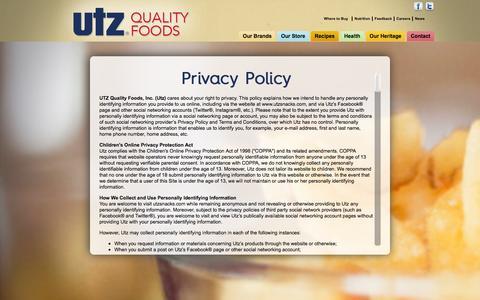 Screenshot of Privacy Page utzsnacks.com - Privacy - captured Feb. 17, 2016