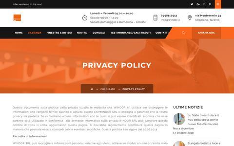 Screenshot of Privacy Page windor.it - Privacy Policy - Windor Porte Finestre e Infissi garantiti 30 anni | Taranto - captured Oct. 18, 2018