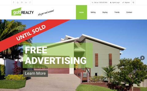 Screenshot of Home Page gottrealty.com - Gott Realty | North Brisbane Discount Real Estate Commission - captured Feb. 1, 2016