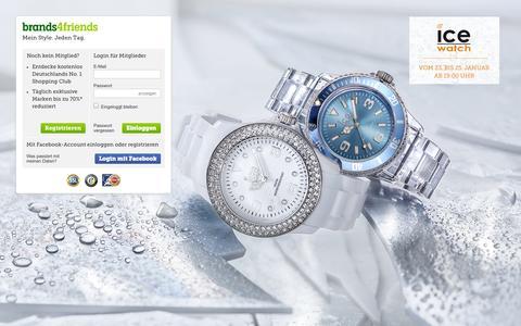Screenshot of Home Page brands4friends.de - Günstige Markenkleidung im Online Shopping Club bei brands4friends - brands4friends.de - captured Jan. 22, 2015