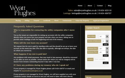 Screenshot of FAQ Page wyatthughes.co.uk - Frequently Asked Questions - Wyatt Hughes - captured Nov. 5, 2014